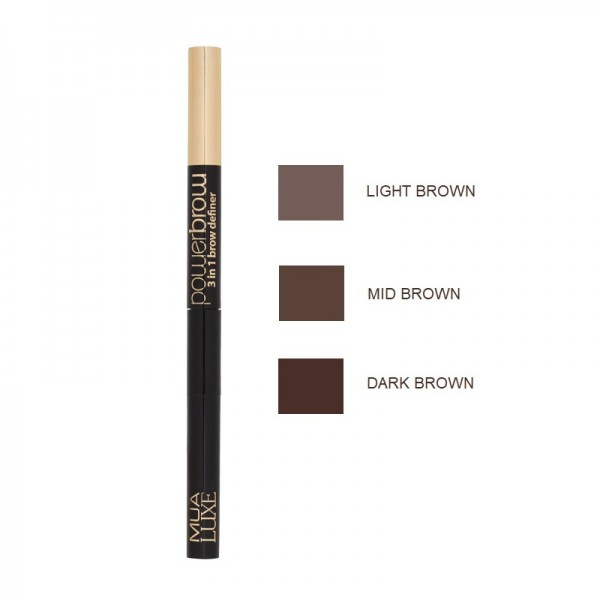 MUA Luxe Power Brow 3 In 1 Brow Definer- Mid Brown