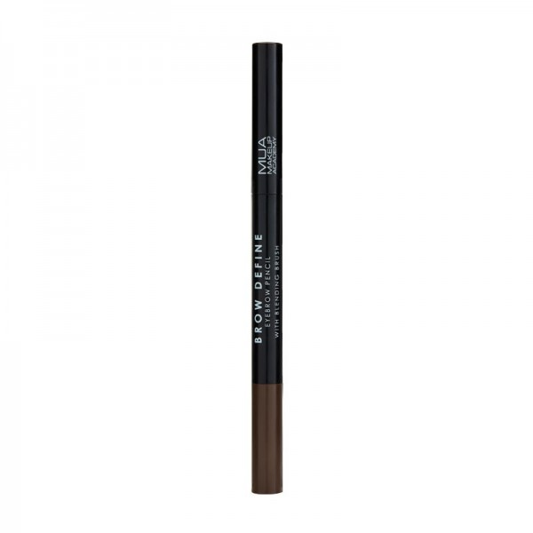 MUA BROW DEFINE EYEBROW PENCIL - WITH BLENDING BRUSH - DARK BROWN